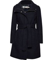 zeolaiw zip coat solid wollen jas lange jas blauw inwear