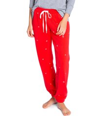 women's pj salvage joyful pajama pants, size medium - red