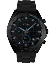 boss men's chronograph intensity black rubber strap watch 44mm