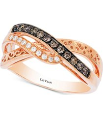 le vian chocolatier diamond accent filigree ring (1/4 ct. t.w.) in 14k rose gold