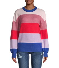 saks fifth avenue women's bold striped sweater - riviera blue - size s