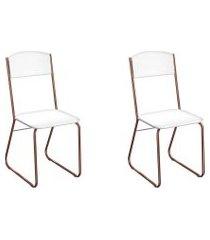 conjunto com 2 cadeiras byron branco e cobre
