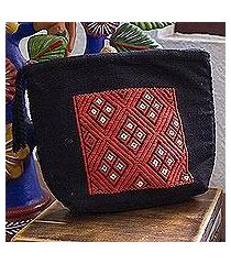 cotton cosmetic bag, 'scarlet geometry' (mexico)