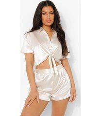 satijnen pyjama shorts met geplooide zoom, cream