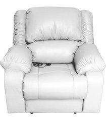 poltrona do papai reclinável elétrica com massagem magnum couro branco - gran belo