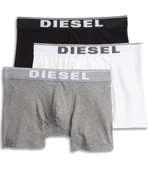 diesel(r) umbx sebastian 3-pack stretch cotton boxer briefs, size x-large in black/white/grey at nordstrom