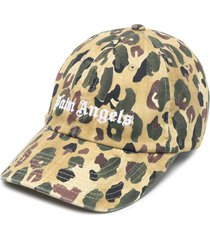 palm angels camouflage military cap - green