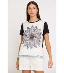 t-shirt mandala em crepe costas viscolycra multicolorido