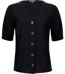 blusa unicolor escote en v color negro, talla 10