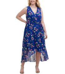 jessica howard plus size printed high-low dress
