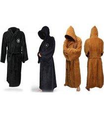 halloween adult star wars jedi soft fleece hooded brown bathrobe gown bath.robe