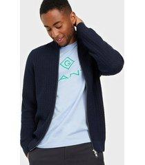 gant d1. cotton texture fullzip tröjor blue