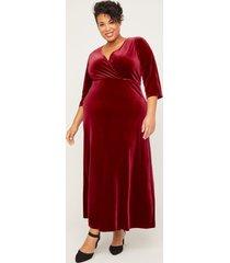 red velvet faux-wrap dress