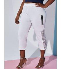 plus size o ring zip lace panel crop leggings