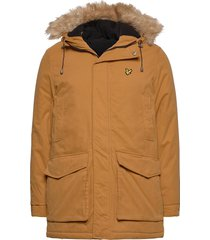 winter weight microfleece lined parka parka jacka brun lyle & scott