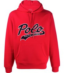 polo ralph lauren relaxed-fit logo hoodie - red