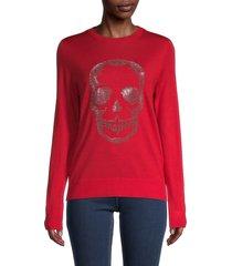 zadig & voltaire women's miss skull merino-wool long-sleeve sweater - grey - size m