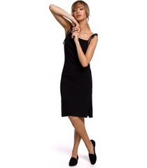 korte jurk moe m516 spaghettiband midi-jurk - zwart