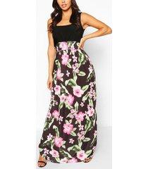 2in1 square neck tropical floral print maxi dress, multi