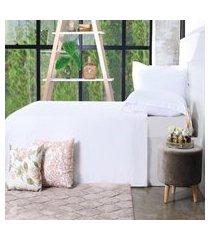 jogo de cama 200 fios casal 100% algodáo pentado extra macio branco - bene casa