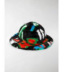 kirin faux-fur logo-print hat