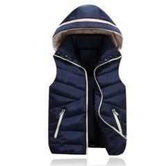 men warm detachable cap hooded vest sleeveless jacket casual waistcoat