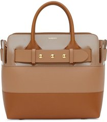 burberry small triple-stud belted tote - neutrals