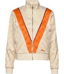 women halle satin track jacket sweat-shirt trui oranje fila