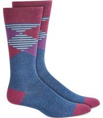 alfani men's oversized striped argyle socks, created for macy's