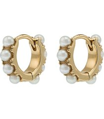 18kt gold and pearl mini hoop earring