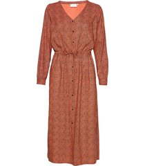 kaelaki dress knälång klänning orange kaffe