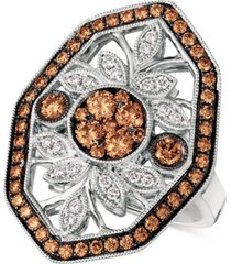 le vian chocolatier chocolate deco diamond statement ring (1-1/8 ct. t.w.) in 14k white gold