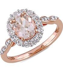 sonatina women's 14k rose gold, morganite, white topaz & diamond ring/size 7 - size 7