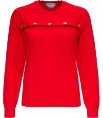bottega veneta red merino wool sweater