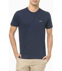camiseta masculina slim minimalista flamê azul marinho calvin klein - pp