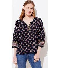 loft bloom split neck blouse
