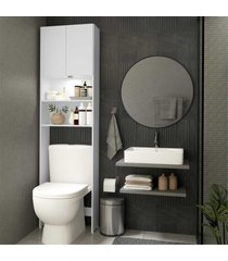 armã¡rio banheiro com led para vaso sanitã¡rio e 2 portas multimã³veis branco - branco - dafiti