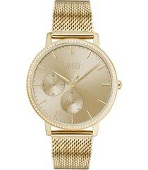 boss women's infinity ultra slim gold ion-plated stainless steel mesh bracelet watch 35mm
