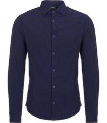 armani jeans fantasia blue camicia cross hatch pattern shirt 6y6c24-6n0jz