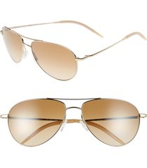 oliver peoples benedict 59mm photochromic gradient aviator sunglasses in gold/chrome amber at nordstrom