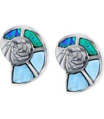 lab-created blue opal & larimar shell stud earrings in sterling silver