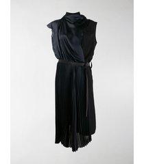 sacai pleated drape midi dress