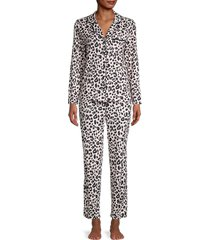 kate spade new york women's print 2-piece pajama set - white - size s