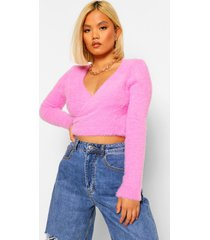 petite pluizige gebreide wikkel trui, pink