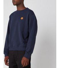 kenzo men's tiger crest sweatshirt - navy blue - xxl