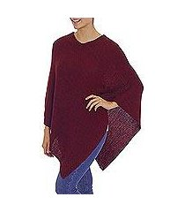 100% alpaca poncho, 'enchanted evening in wine' (peru)