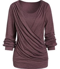 long sleeve round collar marled t shirt