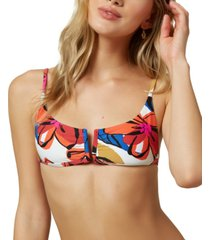 o'neill juniors' gala printed v-wire bralette bikini top women's swimsuit
