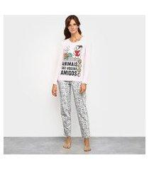 pijama evanilda turma da mônica longo feminino