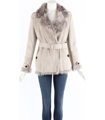 burberry gray shearling leather belted jacket gray sz: m